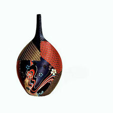 Ceramic Mandarin Vase Upholstered With Oriental Fabric by Artist Vera Souto