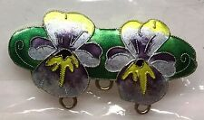 GITA MARIA Glass Enamel on Sterling Silver PANSY PIN BROOCH FINDING 3 Loops