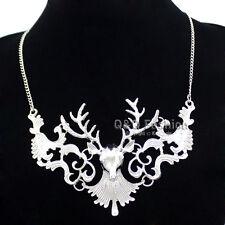 Victorian Vintage Silver Filigree Deer Buck Horn Elk Skull Antler Stag Necklace