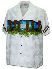 Tiki Sunset and Sunrise Tribal Hawaiian Aloha Shirt (Made in Hawaii) 440-3924