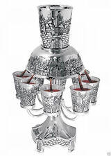 New Shabbat Kiddush Wine Fountain Cup Set For 8 Jerusalem Silver Plated  Karshi