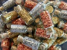 18 Large Bottles of.. Gold - Silver - Copper Leaf Flakes.. Best price on eBay !!
