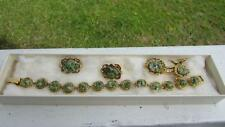 VINTAGE RETRO MID CENTURY JEWELRY SET FROM BERMUDA JADE BRACELET PIN EARRINGS
