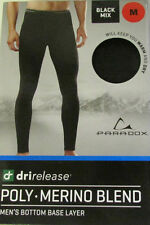 Paradox Mens DriRelease Merino Blend Bottoms Base Layer Pants Black Mix Large