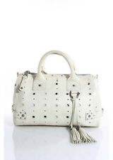 MARC JACOBS Ivory Leather Silver Tone Perforated Brigitte Satchel Handbag