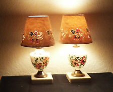 LAMPS  PAIR OF SHABBY CHIC VINTAGE HAND PAINTED MILK-GLASS VANITY LAMPS w/SHADES