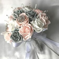 BRIDES POSY BOUQUET, BABY PINK, WHITE & GREY ROSES,  ARTIFICIAL WEDDING FLOWERS