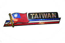 TAIWAN LONG COUNTRY FLAG  METALLIC BUMPER STICKER DECAL .. 11.75 X 3 INCH