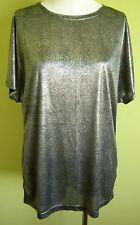 Ladies Womens Short Sleeve Round Neck Metallic Shear Blouse Top Smartline Size M