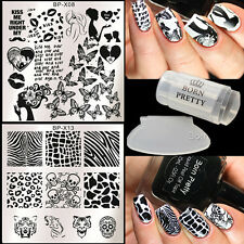 4Pcs Nail Art Stamping Plates Polish Stamper W/Scraper BORN PRETTY Animal Lip