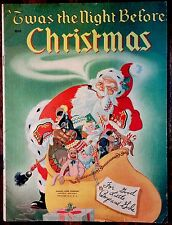 THE NIGHT BEFORE CHRISTMAS ~Beautiful 1950's Children's Large Softcover Book