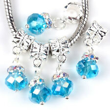 5PC Alloy Dangle Crystal Baby Blue Faceted Glass Charms Beads Fit Euro Bracelets