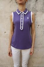 MARINA YACHTING LADY POLO T-Shirt Viola Top Stretch Auth Senza Maniche Canotta XL