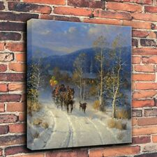 Repro Print Oil Painting on Canvas Decor - G Harvey Jingle Bells and Powder Snow