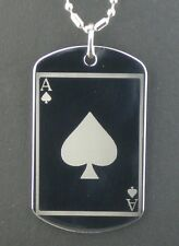Ace of Spades Lucky Poker Card Dog Tag Pendant Necklace
