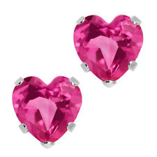 1.20 Ct Heart Shape Pink Mystic Topaz 14K White Gold 5-prong Stud Earrings