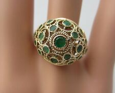 Vintage Handmade 14K Yellow Gold and Columbian Emerald Ring Dome