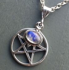 925 Sterling Silver Rainbow Moonstone LARGE Pentagram Pendant & Chain Wicca goth