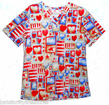 White Cross XS Scrub Top Hearts Stars Stripes Patriotic Red White Blue Beige