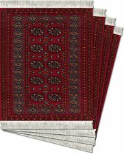 MouseRug CoasterRugs,Turkoman Bokhara w/Lextra FiberLok Graphics-Set of 4,