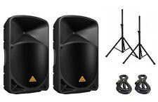 "Behringer EUROLIVE B115W 15"" Active Powered Professional PA System BUNDLE!"