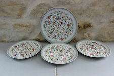 Lot de 3 assiettes à dessert + assiette plate - Lourioux Foëcy - Petites fleurs