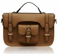 Designer Ladies Women Tan Brown Buckle Satchel Cross Body Shoulder Handbag Bag