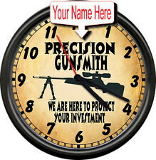 Personalized Custom Gunsmith Firearms Rifle Gun Shop Sales Retro Wall Clock