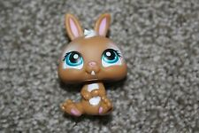 Littlest Pet Shop Brown White Bunny #1304 Dwarf Baby Rabbit Blue Eyes LPS Toy