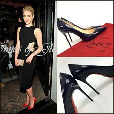 Auth Christian Louboutin Navy SO KATE 100 Pumps Leather Heels Shoes Size 37.5