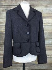 Ann Taylor Women's 10 (Medium) Eggplant Purple Tweed Wool Blend Blazer Jacket
