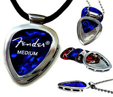 Musician's Gift PICKBAY STAINLESS STEEL Guitar PICK Holder Pendant w LeatherCord