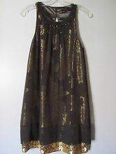 BCBG Max Azria Brown/Gold Floral Sequin Hem Sleeveless Kneelength Dress SZ 2