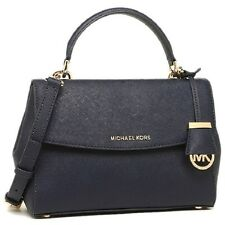 Michael KORS BORSA Ava SM TH Satchel Bag Navy Pelle