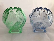 2 x BAGLEY GLASS  'EQUINOX'  POSY VASE / BOWL - ART DECO / Blue & Green