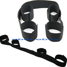 Black Nylon Band Strap Bondage Restraint Set Fancy Wrist to Ankle Cuffs