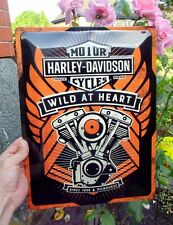 Official HARLEY-DAVIDSON - WILD AT HEART - Motorcycles Embossed Wall Sign