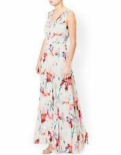 MONSOON KATE IVORY PINK FLORAL PRINT MAXI COCKTAIL WEDDING DRESS UK 8 BNWT
