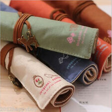 Hot 1X Vintage Canvas Wrap Roll Up Pen Case Make Up Brushes Stationery Pouch New