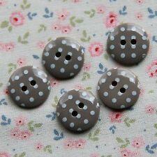 15 Botones De Lunares Guijarro Gris manchada 15mm