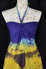 Women Small Purple Blue Yellow Tie Dye Halter Aysemmetrical Shirt Tunic Loose