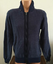 Mens Size Medium M GUESS Bronson Full Zip Mock Officer Blue Sweater X44R01Z0RZ0