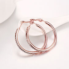 18k 18ct Rose Gold Filled GF Hoop Crystals Woman Earrings E-A541-R