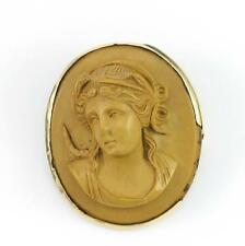 Vintage Antique Victorian 10K Gold Brown Carved Lava Cameo Pin Brooch QX