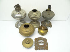 Antique & Vintage Lot Used Old Metal Brass Oil Lamp Founts Bodies Bases Parts