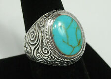 Large 16mm Turquoise Swirls Band Solid Sterling Silver Ring Size 10 Stamped 925