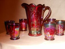 FENTON RED CARNIVAL GLASS WATER SET PITCHER TUMBLERS HOACGA 1974 GOOD LUCK
