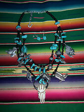 Southwestern Onxy & Turquoise Color Western Cowgirl Multi Charm Necklace Set