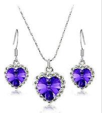 Women Jewelry purple Crystal Heart Of Ocean Necklace Earrings Jewelry Set