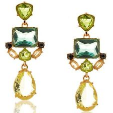 Dichiarazione Peridot Menta Emerald Verde di Cristallo a Perno Goccia Dangle Earrings UK Shop